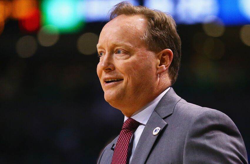 BOSTON, MA - APRIL 22: Mike Budenholzer of the Atlanta Hawks looks on during the first quarter of Game Three of the Eastern Conference Quarterfinals during the 2016 NBA Playoffs between the Atlanta Hawks and the Boston Celtics at TD Garden on April 22, 2016 in Boston, Massachusetts. NOTE TO USER User expressly acknowledges and agrees that, by downloading and or using this photograph, user is consenting to the terms and conditions of the Getty Images License Agreement. (Photo by Maddie Meyer/Getty Images)