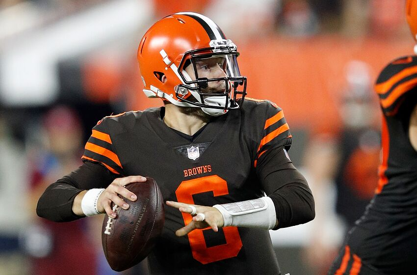 0ed61bbc1dc CLEVELAND, OH - SEPTEMBER 20: Baker Mayfield #6 of the Cleveland Browns  looks