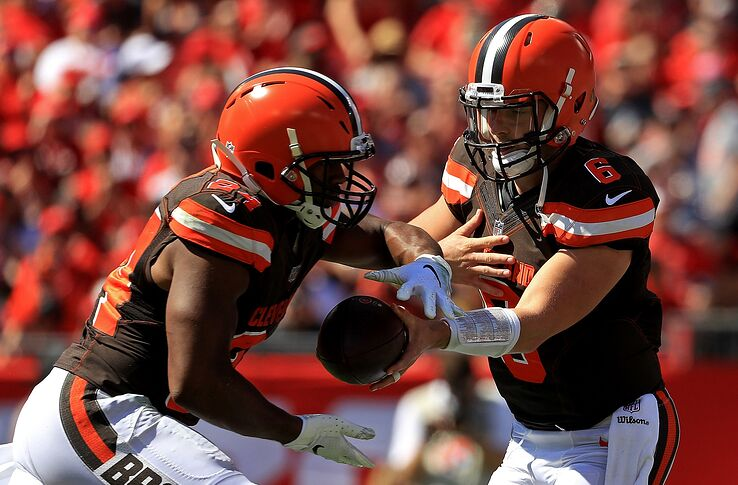 official photos 8a59f ff83a Cleveland Browns: Baker Mayfield, Nick Chubb jerseys honored ...