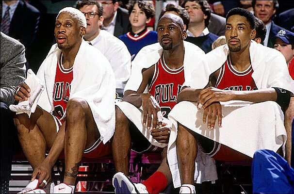 f8397c4ed29 The super trio of Dennis Rodman, Michael Jordan and Scottie Pippen got the Chicago  Bulls