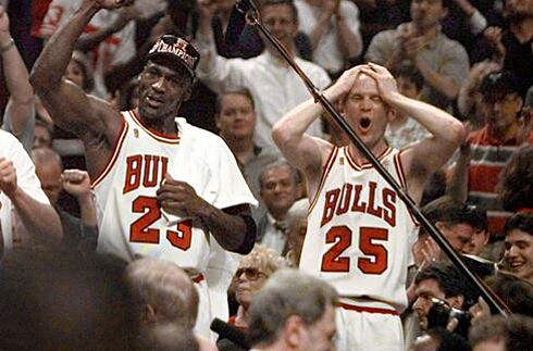 7c82210b7 Michael Jordan and Steve Kerr celebrate the Chicago Bulls winning their  fifth NBA Championship in the