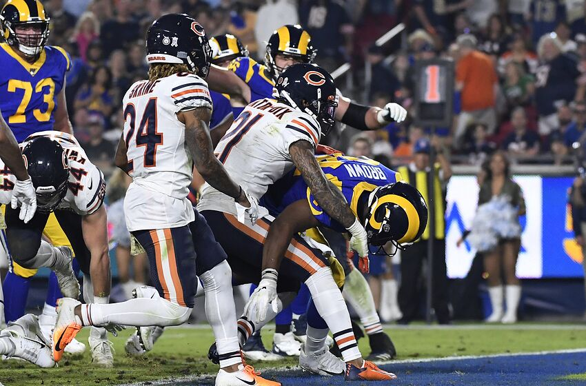 LOS ANGELES, CA - NOVEMBER 17: Malcolm Brown #34 of the Los Angeles Rams scores a touchdown against Ha Ha Clinton-Dix #21 of the Chicago Bears during the second half against Chicago Bears at Los Angeles Memorial Coliseum on November 17, 2019 in Los Angeles, California. (Photo by Kevork Djansezian/Getty Images)