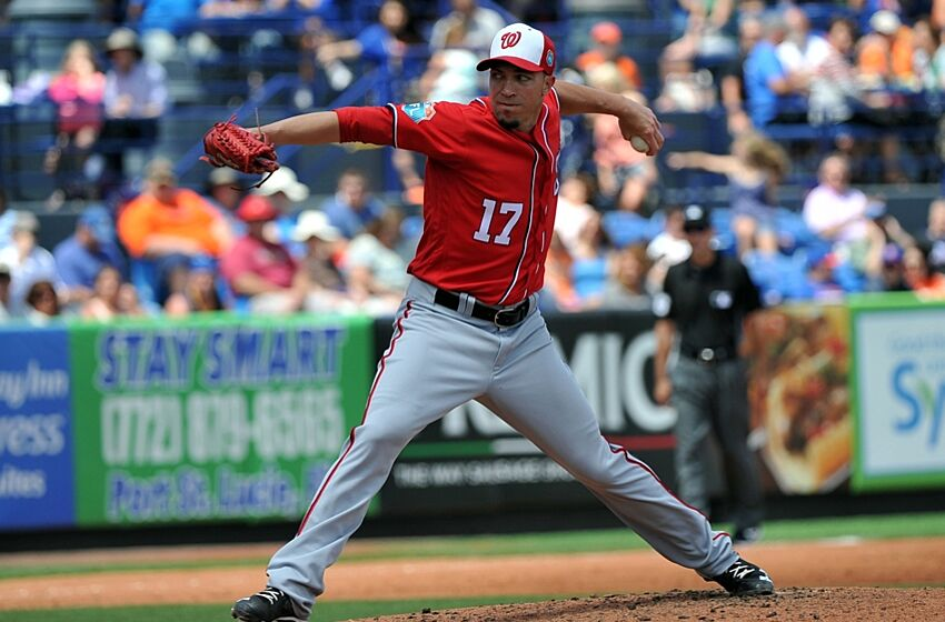 Mar 30, 2016; Port St. Lucie, FL, USA; Washington Nationals starting pitcher Sean Burnett (17) throws in the third inning during a spring training game against the New York Mets at Tradition Field. Mandatory Credit: Steve Mitchell-USA TODAY Sports