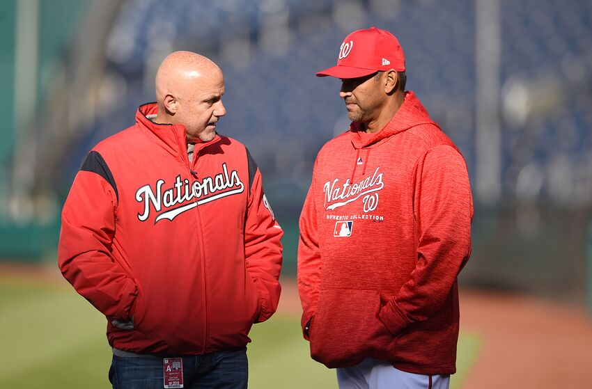 new concept 335ba 21334 WASHINGTON, DC - APRIL 10  General manager Mike Rizzo and manager Dave  Martinez