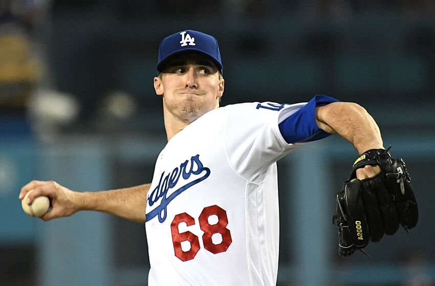 Aug 25, 2016; Los Angeles, CA, USA; Los Angeles Dodgers starting pitcher Ross Stripling (68) in the second inning of the game against the San Francisco Giants at Dodger Stadium. Mandatory Credit: Jayne Kamin-Oncea-USA TODAY Sports
