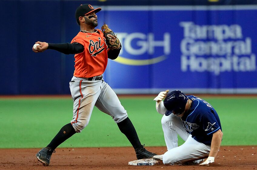 ST PETERSBURG, FLORIDA - SEPTEMBER 03: Jonathan Villar #2 of the Baltimore Orioles turns a double play in the second inning as Willy Adames #1 of the Tampa Bay Rays slides into second during game two of a doubleheader at Tropicana Field on September 03, 2019 in St Petersburg, Florida. (Photo by Mike Ehrmann/Getty Images)