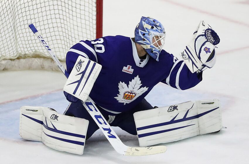 TORONTO, ON- MAY 3 - Toronto Marlies goaltender Kasimir Kaskisuo (30) makes a save as the Toronto Marlies play the Cleveland Monsters in game two of their second round Calder Cup play-off series at Coca-Cola Coliseum in Toronto. May 3, 2019. (Steve Russell/Toronto Star via Getty Images)
