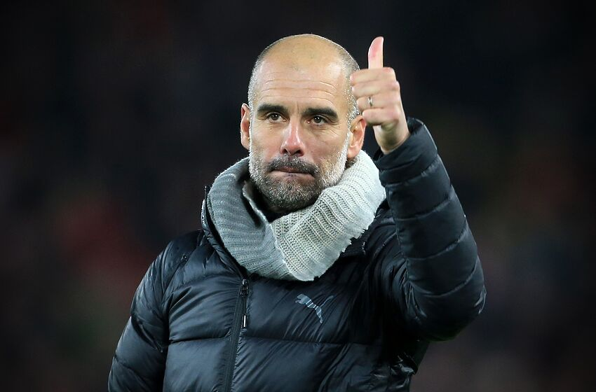 LIVERPOOL, ENGLAND - NOVEMBER 10: Man City manager Pep Guardiola gives the thumbs-up after the Premier League match between Liverpool FC and Manchester City at Anfield on November 10, 2019 in Liverpool, United Kingdom. (Photo by Simon Stacpoole/Offside/Getty Images)