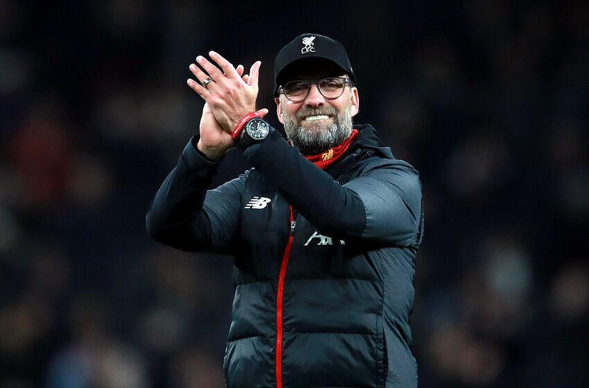 Liverpool manager Jurgen Klopp celebrates after the final whistle Tottenham Hotspur v Liverpool - Premier League - Tottenham Hotspur Stadium 11-01-2020 . (Photo by Adam Davy/EMPICS/PA Images via Getty Images)
