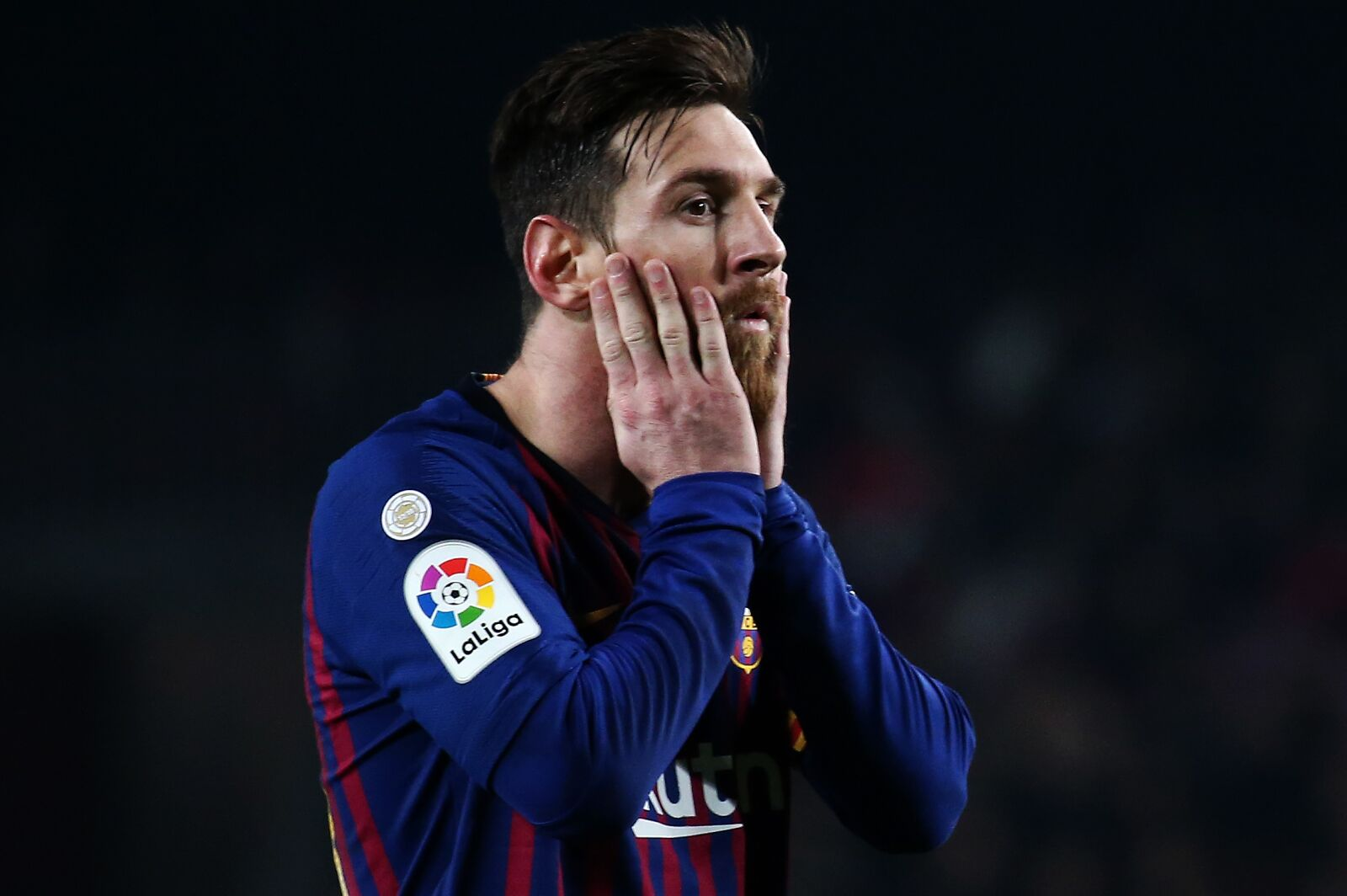 Leo Messi during the match between FC Barcelona and Valladolid CF, corresponding to the week 34 of the Liga Santander, played at the Camp Nou Stadium, on 16th February 2019, in Barcelona, Spain. (Photo BY Joan Valls/Urbanandsport /NurPhoto via Getty Images)