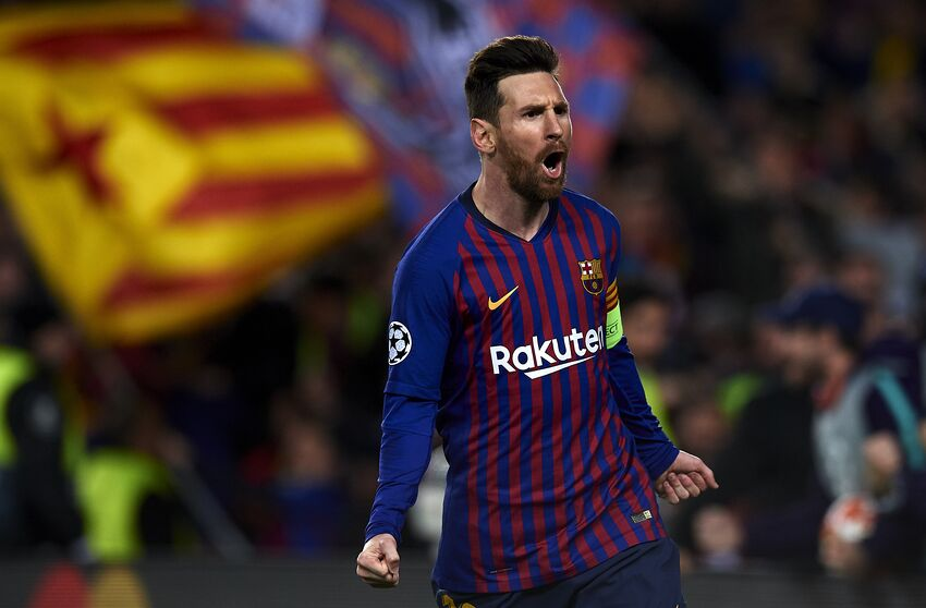 b72681357 Lionel Messi of Barcelona celebrates after scoring his sides second goal  during the UEFA Champions League