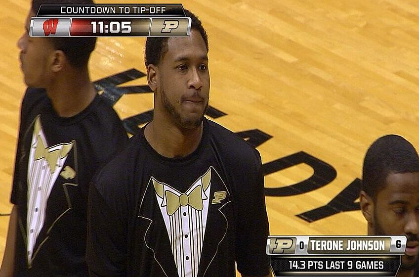 Purdue Basketball Team Warms Up In Tuxedo T Shirts Photo