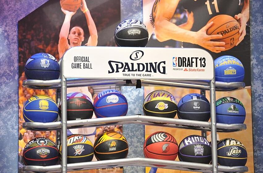 Jun 27, 2013; Brooklyn, NY, USA; A general view of team branded basketballs during the 2013 NBA Draft at the Barclays Center. Mandatory Credit: Joe Camporeale-USA TODAY Sports