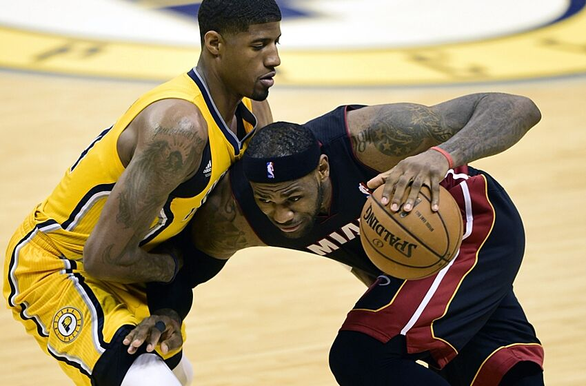 super popular 50d23 25988 Miami Heat forward LeBron James (6) drives towards the basket against Indiana  Pacers forward