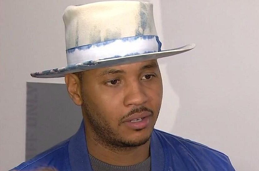 Carmelo Anthony wore a silly hat on Friday night. Photo Credit  Twitter (  f30c5db67d3
