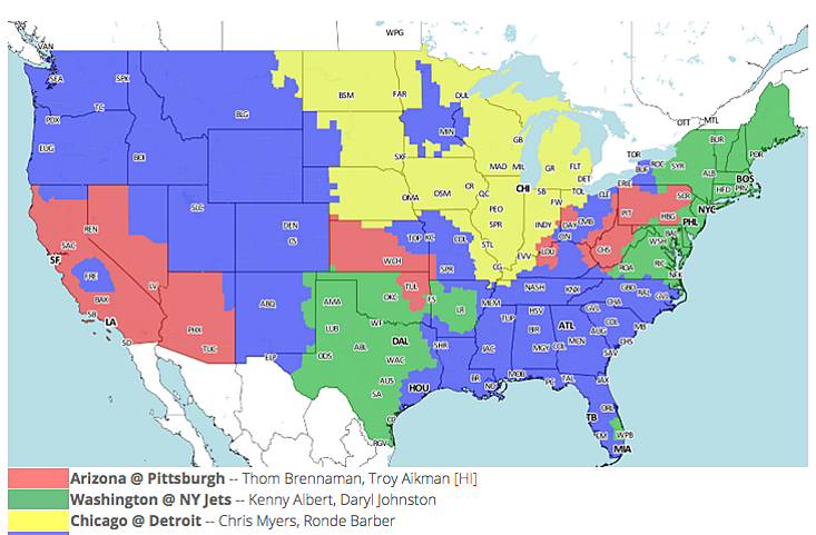 NFL TV schedule and coverage map: Week 6