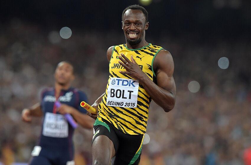 Aug 29 2015 Beijing China Usain Bolt Runs The Anchor Leg On