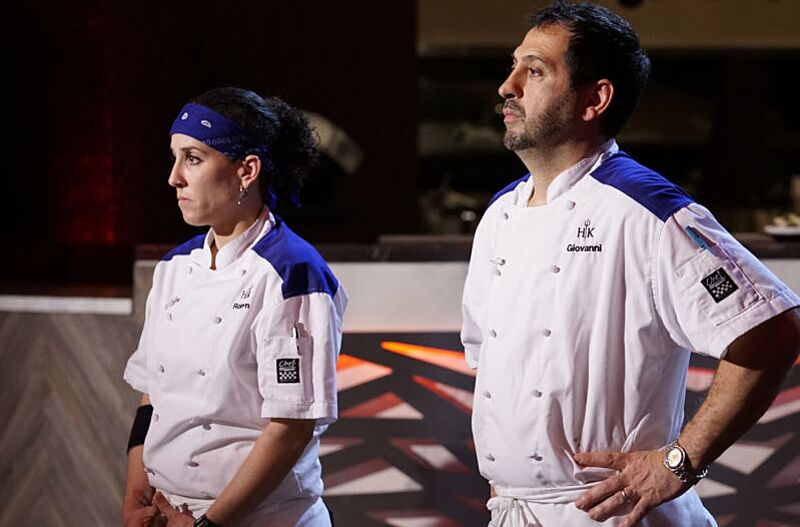 hells kitchen l r contestants robyn and giovanni in the trimming fat episode - Hells Kitchen Season 17