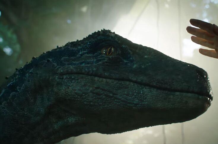 Does Blue the raptor die in Jurassic World: Fallen Kingdom?