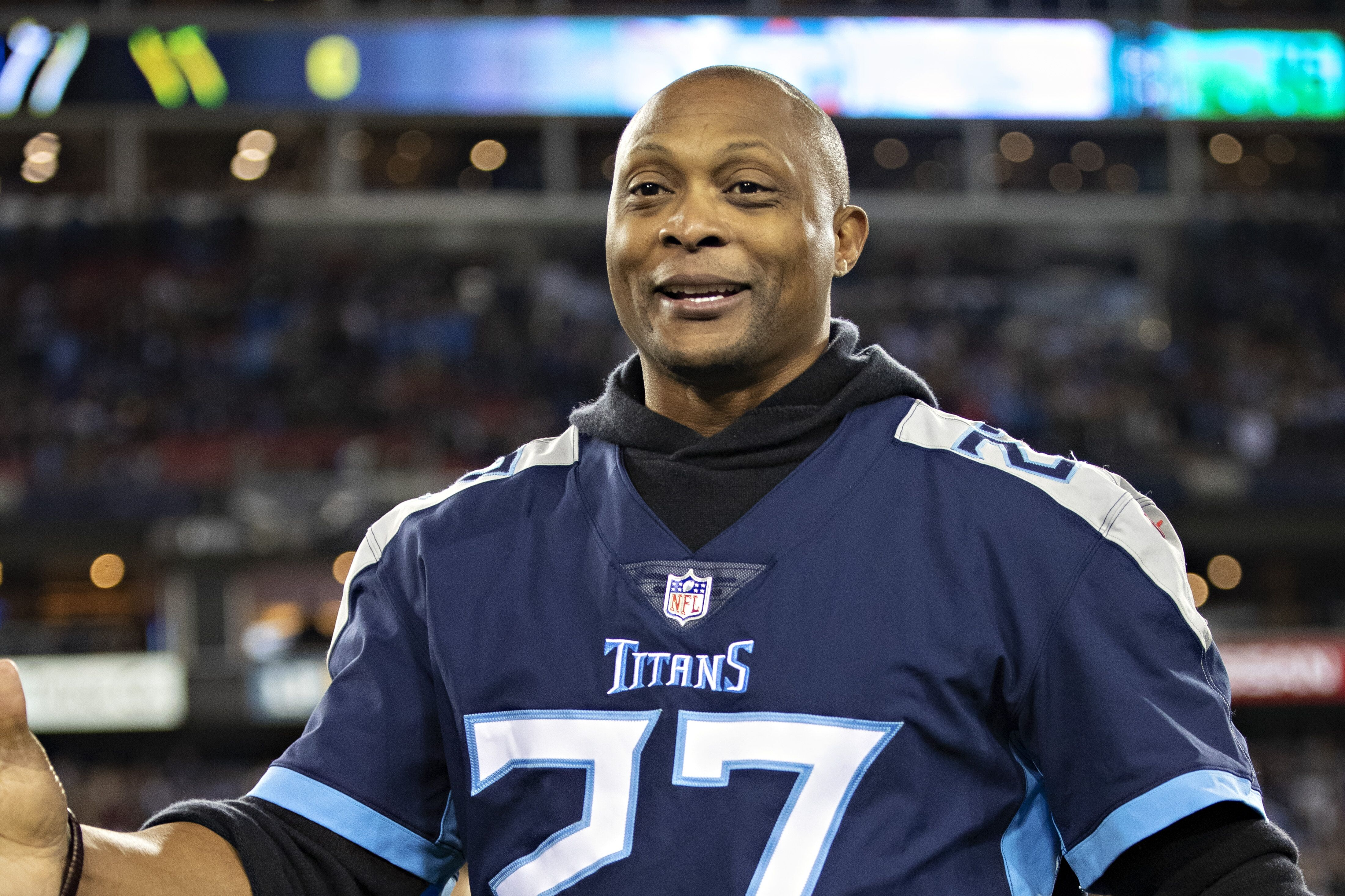 NASHVILLE, TN - DECEMBER 30: Eddie George, former member of the Tennessee Titans, on the field before a game against the Indianapolis Colts at Nissan Stadium on December 30, 2018 in Nashville, Tennessee. The Colts defeated the Titans 33-17. (Photo by Wesley Hitt/Getty Images)