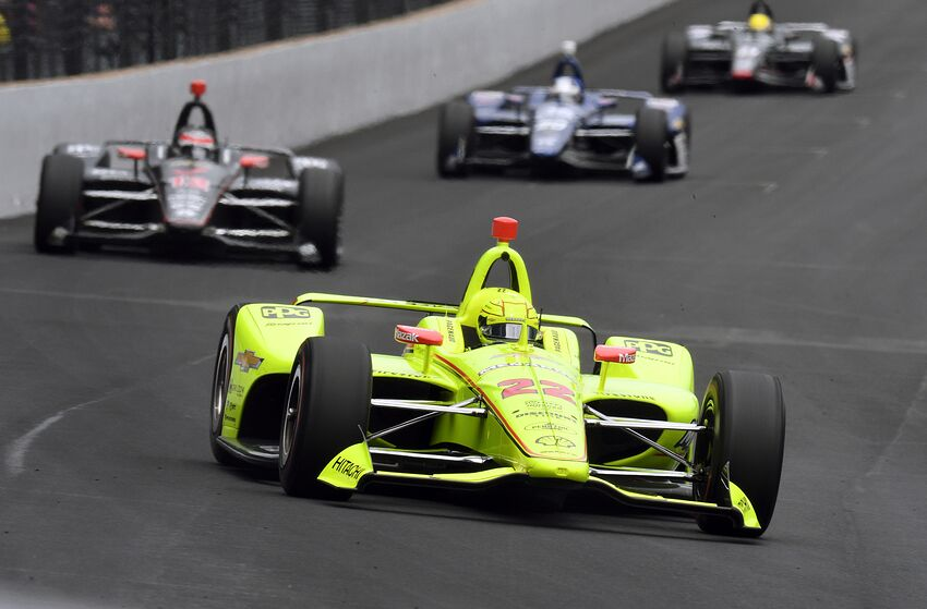 INDIANAPOLIS, IN - MAY 26: IndyCar driver Simon Pagenaud (22) of the Menards Team Penske Chevrolet leads early in the running of the NTT IndyCar Series 103rd running of the Indianapolis 500 on May 26, 2019, at the Indianapolis Motor Speedway in Indianapolis, Indiana. (Photo by Michael Allio/Icon Sportswire via Getty Images)