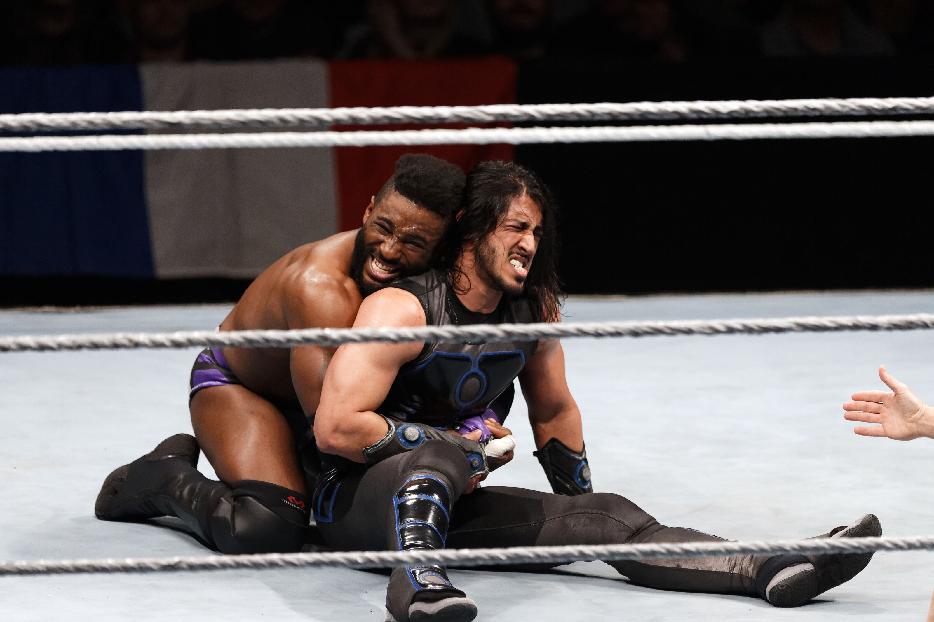 PARIS, FRANCE - MAY 19: Cedric Alexander (L) in action vs Mustafa Ali during WWE Live AccorHotels Arena Popb Paris Bercy on May 19, 2018 in Paris, France. (Photo by Sylvain Lefevre/Getty Images)