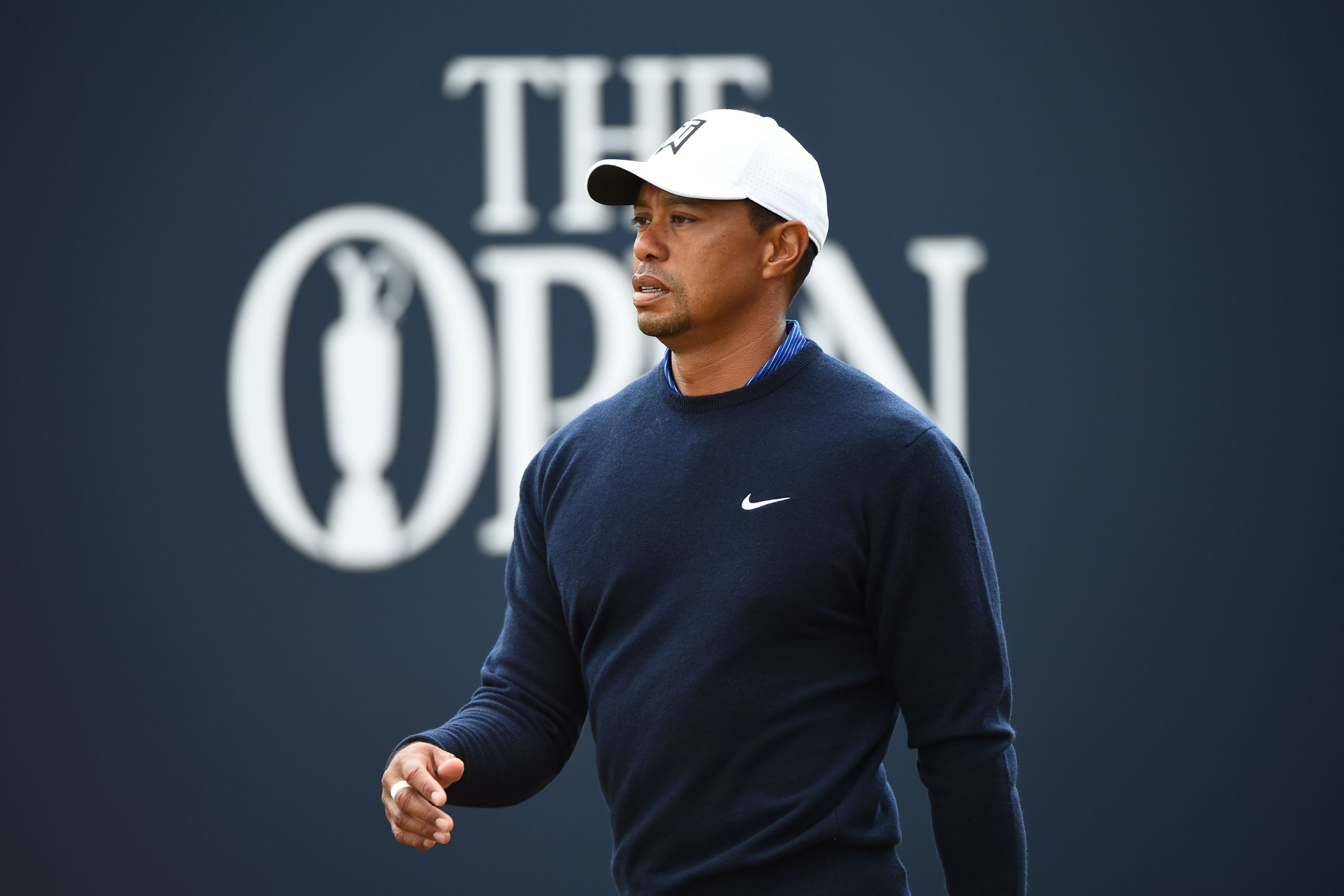 US golfer Tiger Woods walks from the 1st tee during a practice round at The 147th Open golf Championship at Carnoustie, Scotland on July 17, 2018. (Photo by ANDY BUCHANAN / AFP) (Photo credit should read ANDY BUCHANAN/AFP/Getty Images)
