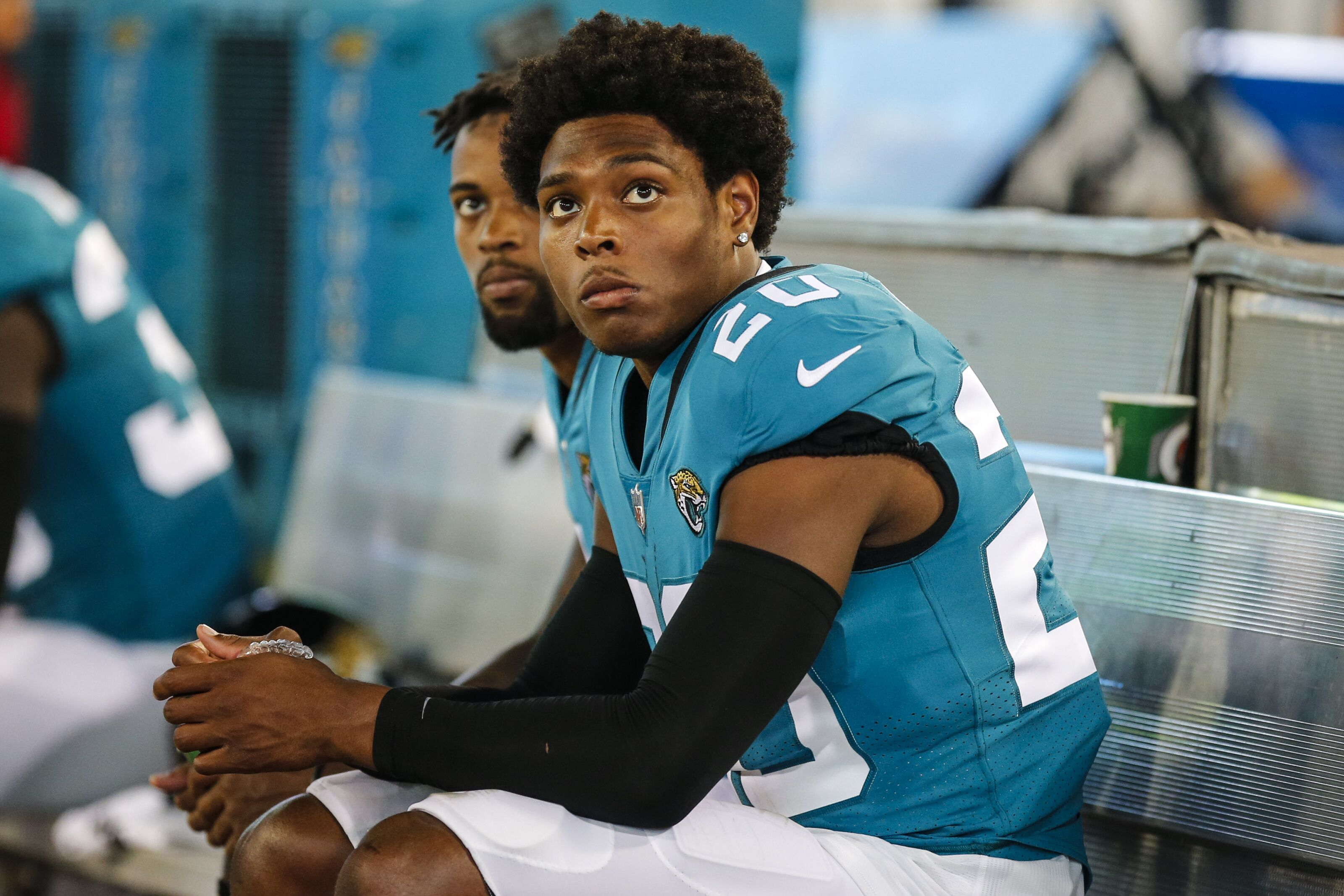 JACKSONVILLE, FL - AUGUST 09: Jacksonville Jaguars cornerback Jalen Ramsey (20) on the bench during the game between the New Orleans Saints and the Jacksonville Jaguars on August 9, 2018 at TIAA Bank Field in Jacksonville, Fl. (Photo by David Rosenblum/Icon Sportswire via Getty Images)