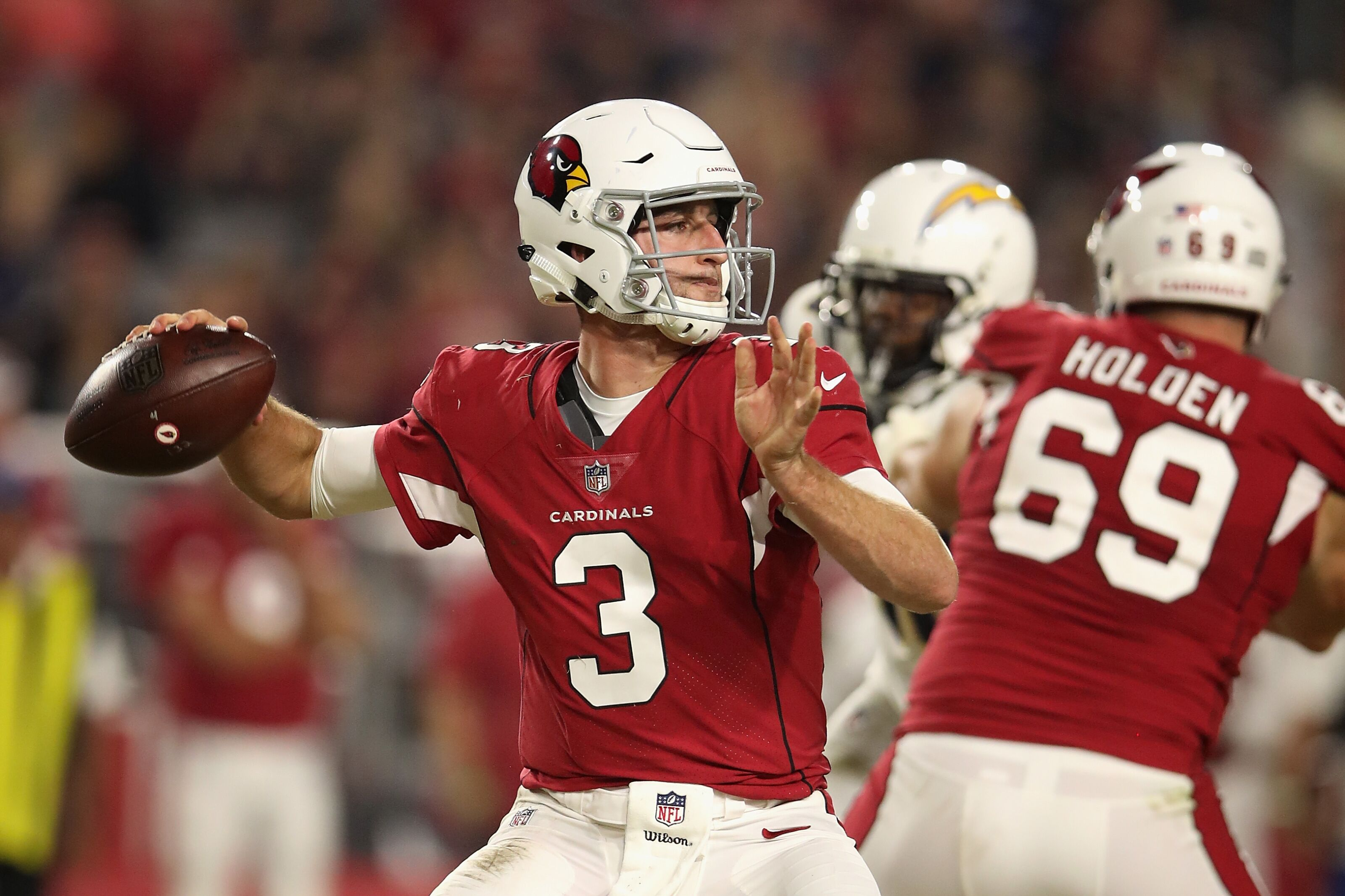 GLENDALE, AZ - AUGUST 11: Quarterback Josh Rosen #3 of the Arizona Cardinals throws a pass during the preseason NFL game against the Los Angeles Chargers at University of Phoenix Stadium on August 11, 2018 in Glendale, Arizona. (Photo by Christian Petersen/Getty Images)