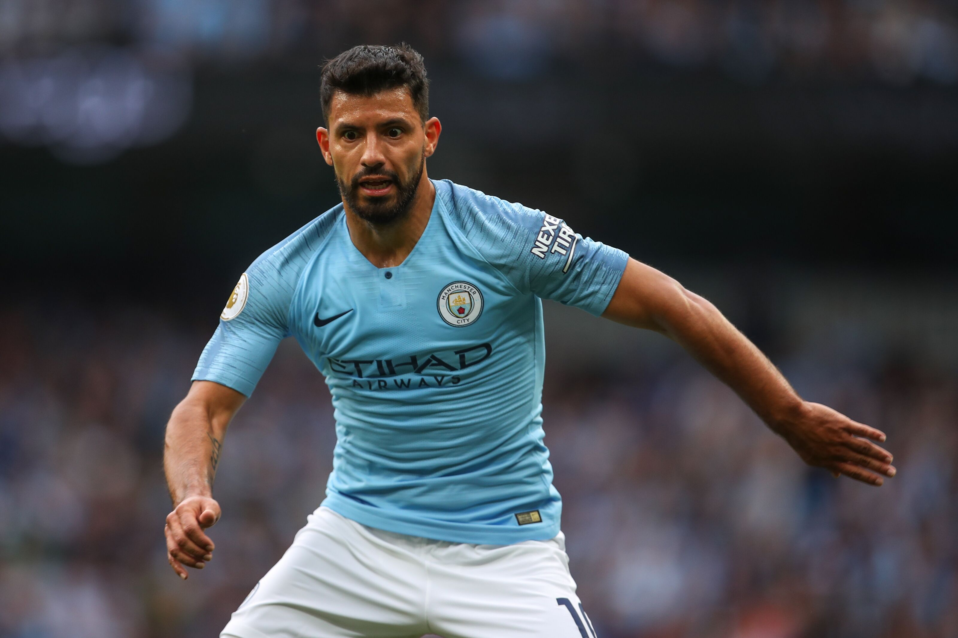 MANCHESTER, ENGLAND - AUGUST 19: Sergio Aguero of Manchester City during the Premier League match between Manchester City and Huddersfield Town at Etihad Stadium on August 19, 2018 in Manchester, United Kingdom. (Photo by Robbie Jay Barratt - AMA/Getty Images)