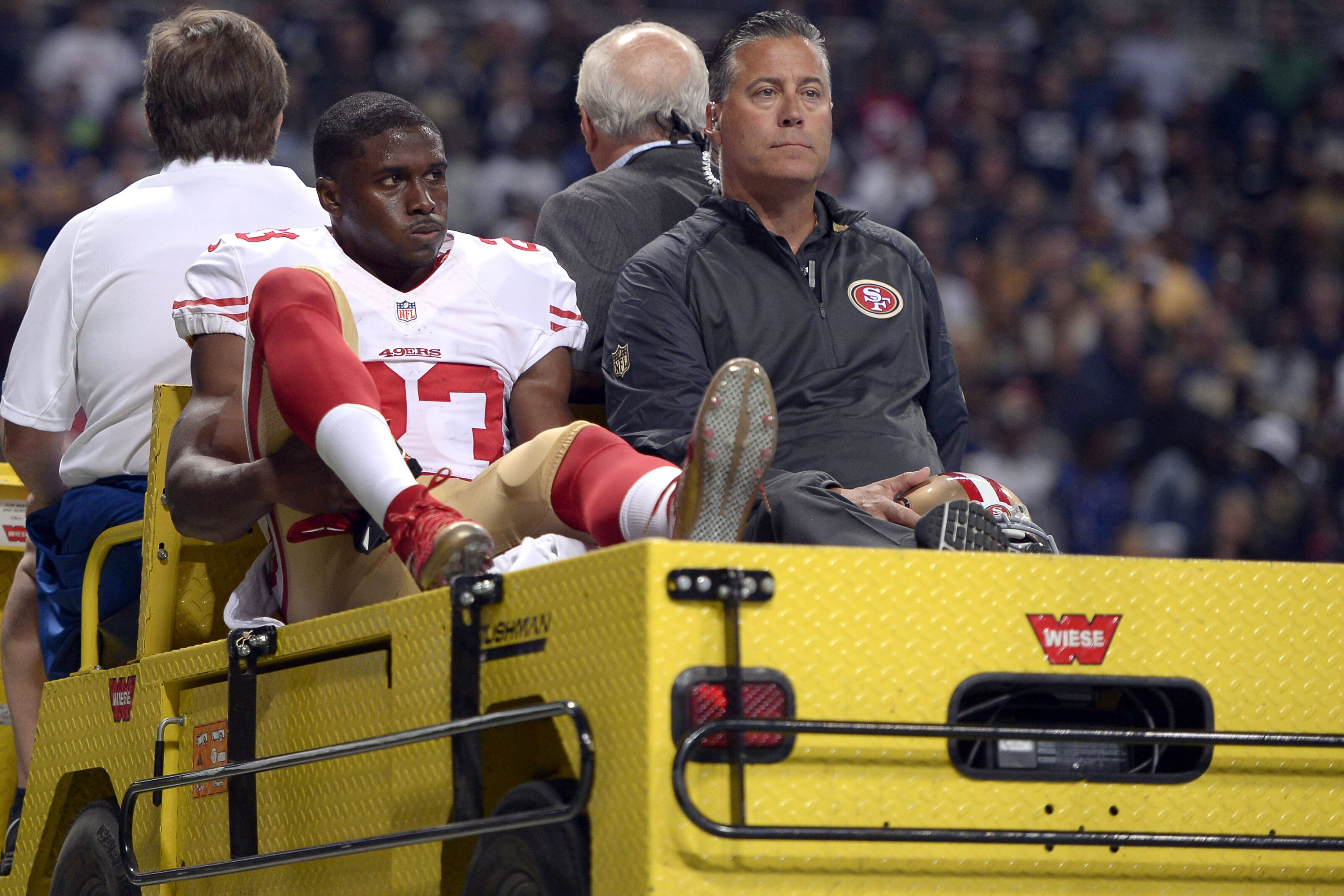01 November 2015: San Francisco 49ers Running Back Reggie Bush (23) [7728] is carted off due to getting injured after returning a kickoff and slipping on a section of cement in action during a game between the San Francisco 49ers and the St. Louis Rams at Edward Jones Dome, in St. Louis, MO. (Photo by Robin Alam/Icon Sportswire) (Photo by Robin Alam/Icon Sportswire/Corbis via Getty Images)