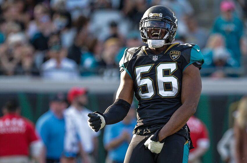 JACKSONVILLE, FL - DECEMBER 17: Jacksonville Jaguars defensive end Dante Fowler Jr. (56) celebrates during the game between the Houston Texans and the Jacksonville Jaguars on December 17, 2017 at EverBank Field in Jacksonville, Fl. (Photo by David Rosenblum/Icon Sportswire via Getty Images)