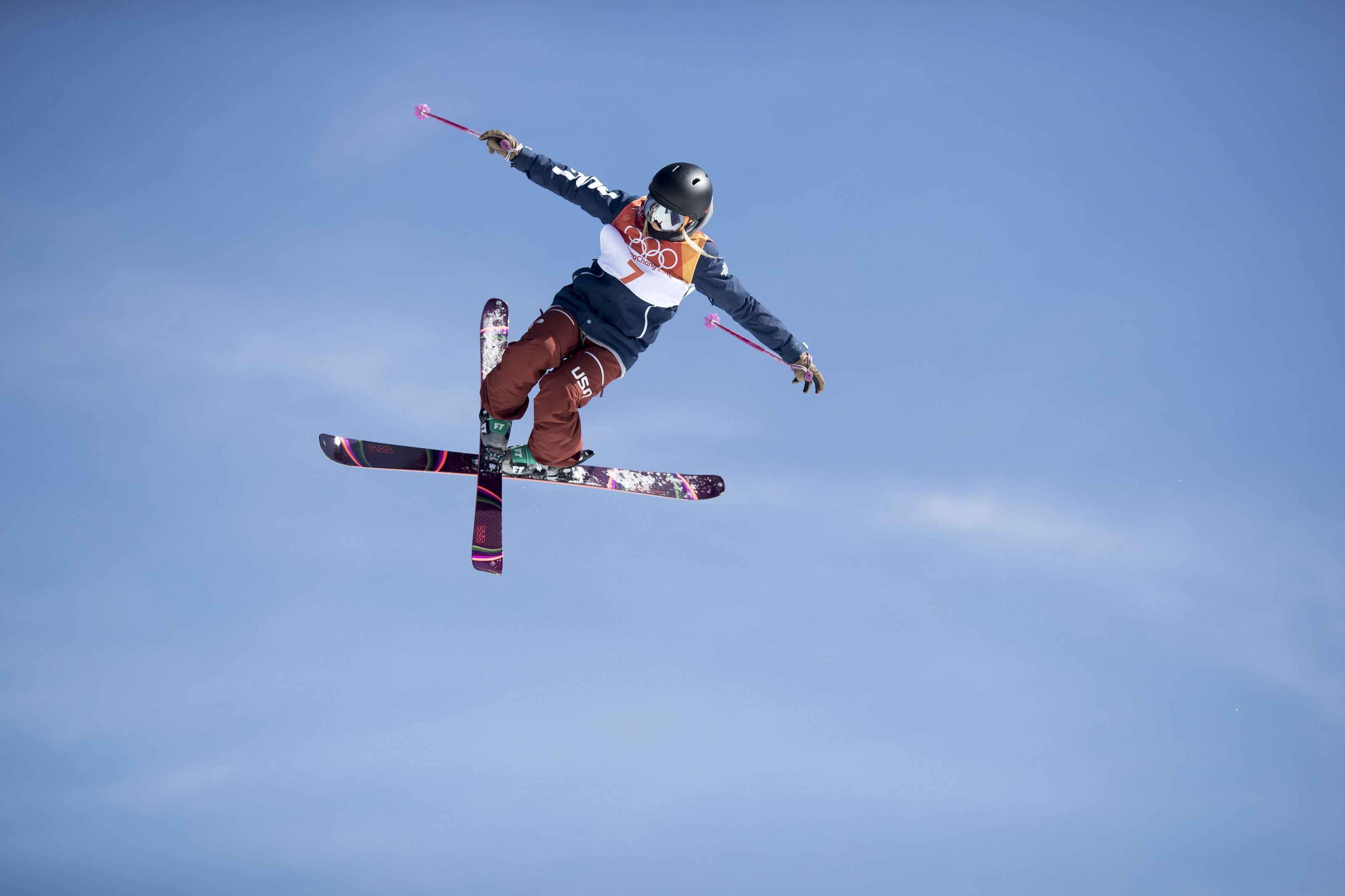 PYEONGCHANG, SOUTH KOREA -FEBRUARY 17: Maggie Voisin #7 of the United States in action during the Freestyle Skiing Ladies' Ski Slopestyle Final at Phoenix Snow Park on February17, 2018 in PyeongChang, South Korea. (Photo by Tim Clayton/Corbis via Getty Images)
