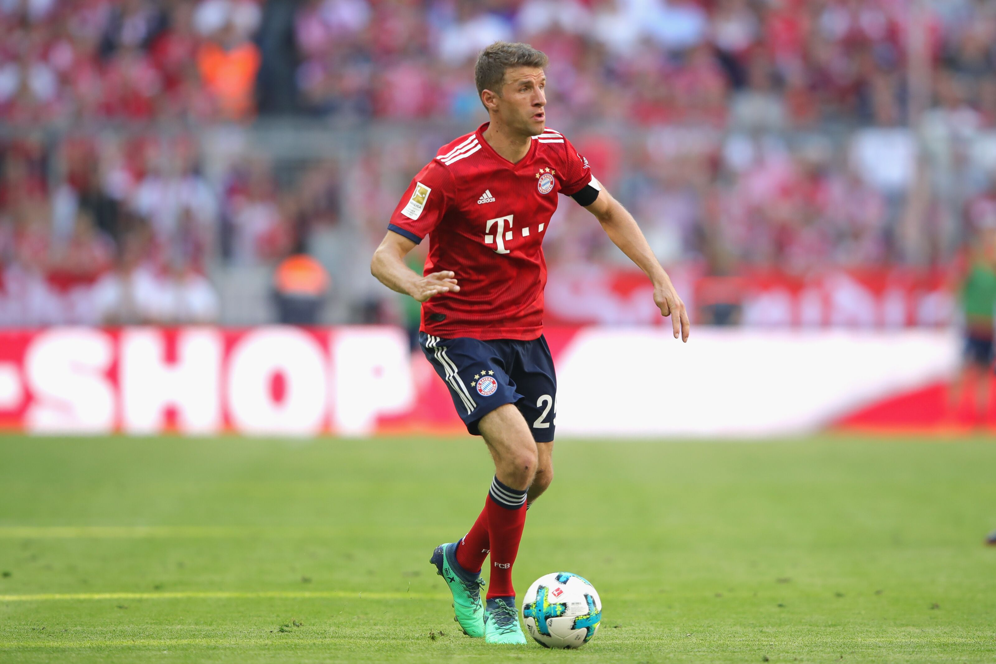 MUNICH, GERMANY - MAY 12: Thomas Mueller of FC Bayern Muenchen runs with the ball during the Bundesliga match between FC Bayern Muenchen and VfB Stuttgart at Allianz Arena on May 12, 2018 in Munich, Germany. (Photo by Alexander Hassenstein/Bongarts/Getty Images)