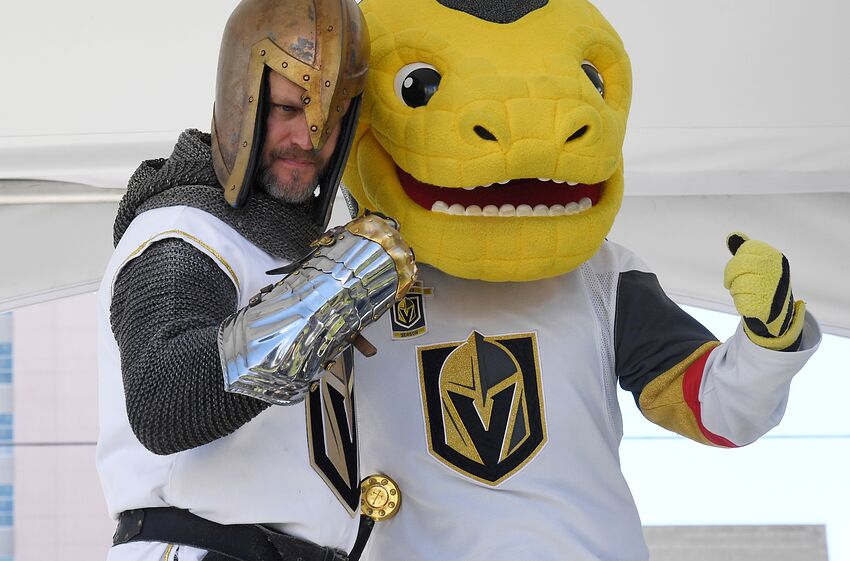 7f0d63396c13 LAS VEGAS, NV - MAY 12: The Golden Knight and the Vegas Golden Knights