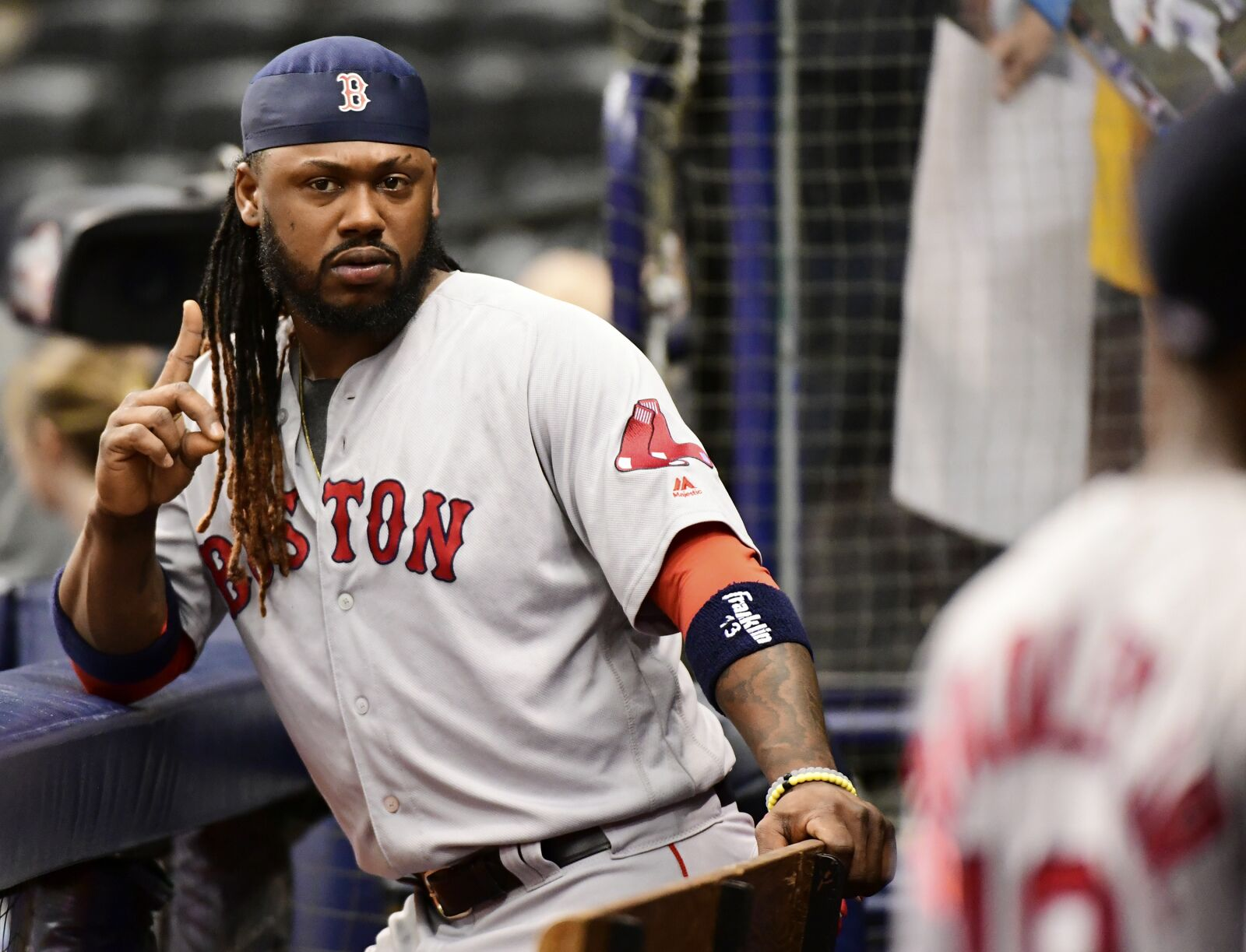 ST PETERSBURG, FL - MAY 23: Hanley Ramirez #13 of the Boston Red Sox poses before taking the field against the Tampa Bay Rays on May 23, 2018 at Tropicana Field in St Petersburg, Florida.(Photo by Julio Aguilar/Getty Images)