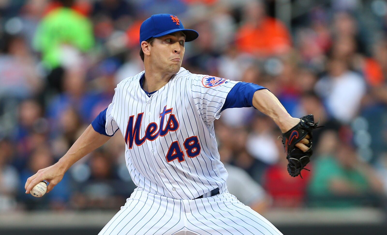 NEW YORK, NY - JUNE 08: Jacob deGrom #48 of the New York Mets in action against the New York Yankees at Citi Field on June 8, 2018 in the Flushing neighborhood of the Queens borough of New York City. The Yankees defeated the Mets 4-1. (Photo by Rich Schultz/Getty Images)