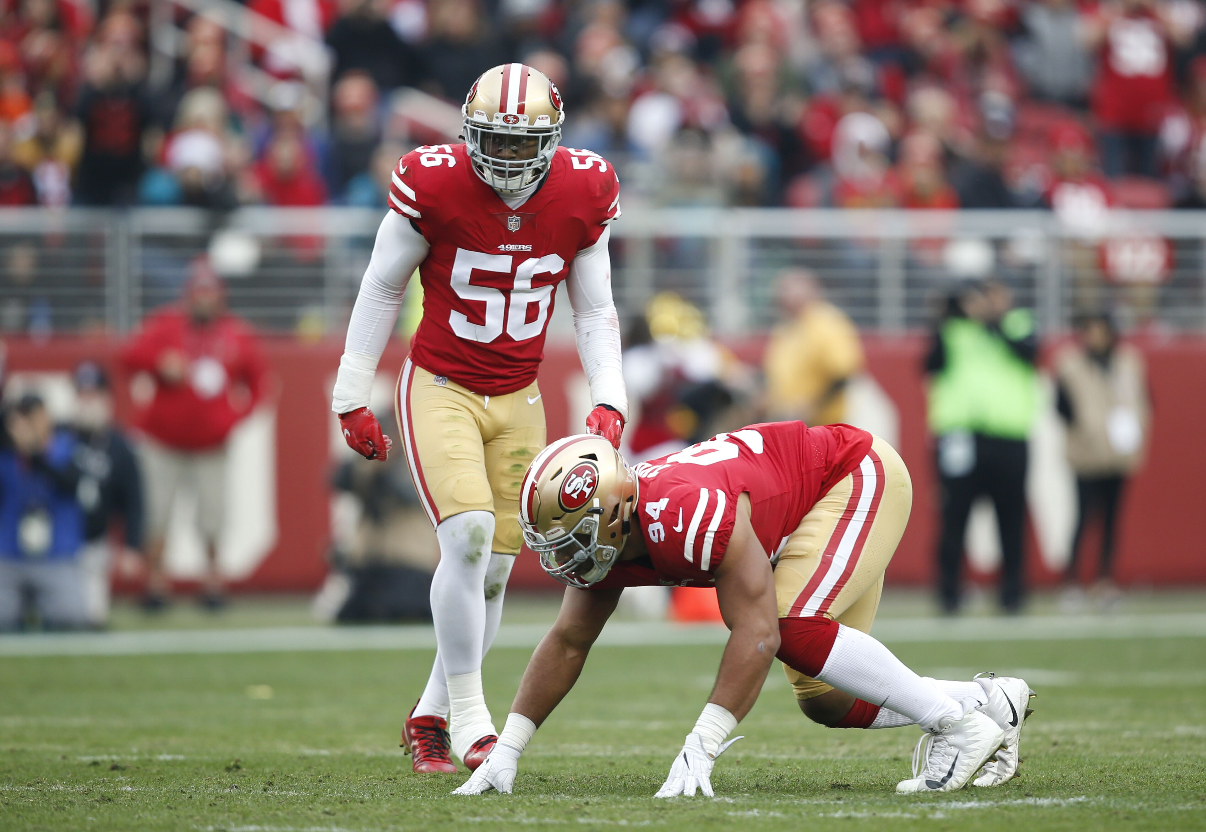 SANTA CLARA, CA - DECEMBER 24: Reuben Foster #56 and Solomon Thomas #94 of the San Francisco 49ers defend during the game against the Jacksonville Jaguars at Levi's Stadium on December 24, 2017 in Santa Clara, California. The 49ers defeated the Jaguars 44-33. (Photo by Michael Zagaris/San Francisco 49ers/Getty Images)