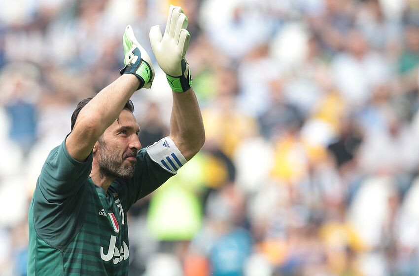 aee716e7ef1 TURIN, ITALY - MAY 19: Gianluigi Buffon of Juventus FC greets the fans in