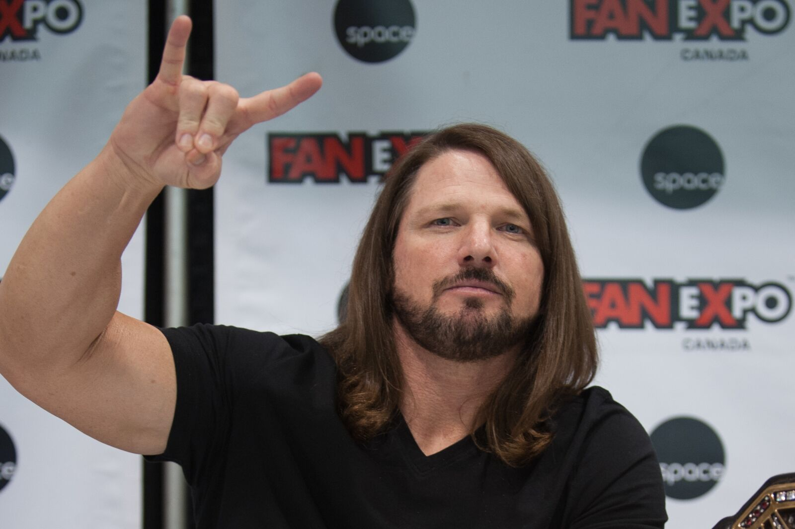 TORONTO, ON - AUGUST 30: Wrestling superstar AJ Styles attends the 2018 Fan Expo Canada at Metro Toronto Convention Centre on August 30, 2018 in Toronto, Canada. (Photo by Che Rosales/Getty Images)