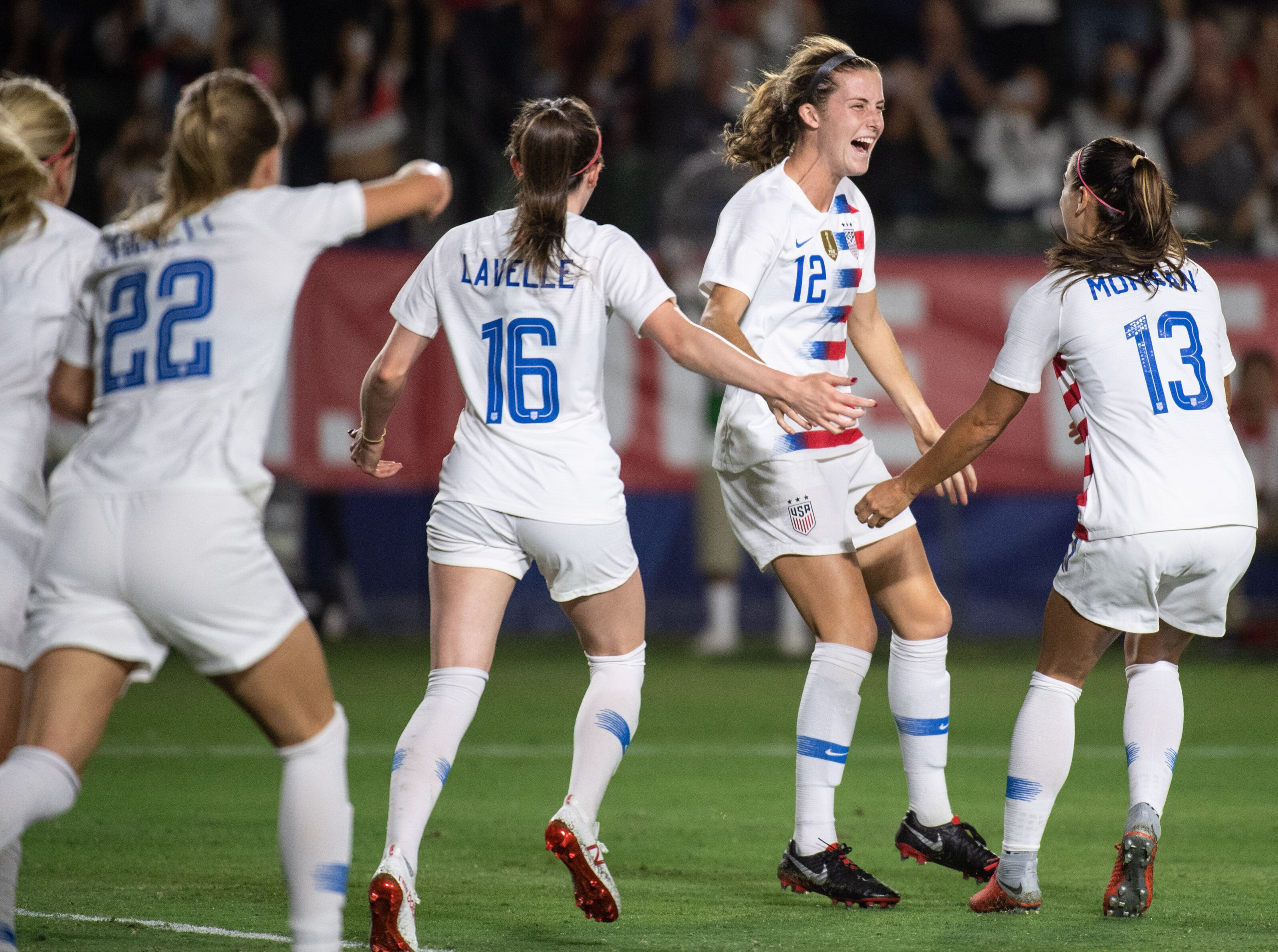 CARSON, CA - AUGUST 31: The United States team celebrate defender Tierna Davidson's goal during a friendly international soccer match between Chile and United States on August 31, 2018 at StubHub Center in Carson, CA. (Photo by Kyusung Gong/Icon Sportswire via Getty Images)