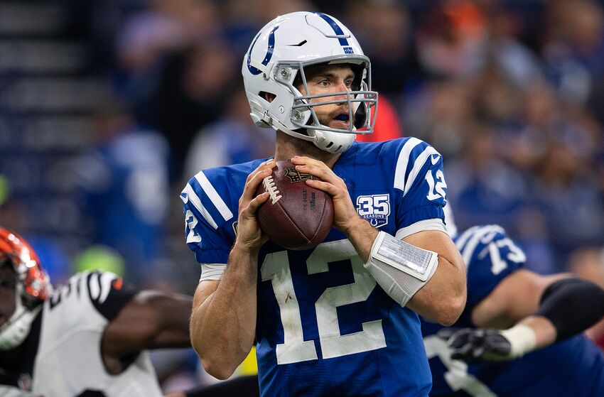 INDIANAPOLIS, IN - SEPTEMBER 09: Indianapolis Colts quarterback Andrew Luck (12) looks downfield during the NFL game between the Indianapolis Colts and Cincinnati Bengals on September 9, 2018, at Lucas Oil Stadium in Indianapolis, IN. (Photo by Zach Bolinger/Icon Sportswire via Getty Images)