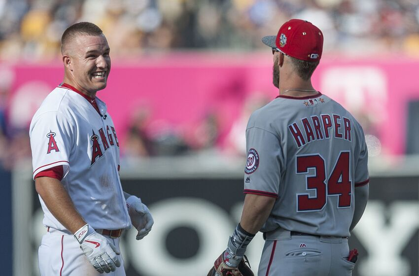 SAN DIEGO, CA - JULY 12: The Angels' Mike Trout jokes around with the Nationals' Bryce Harper during the 2016 MLB All-Star Game at Petco Park in San Diego on Tuesday. ///ADDITIONAL INFO: allstar.0713.kjs --- Photo by KEVIN SULLIVAN / Orange County Register -- 7/12/16 The 2016 MLB All-Star Game at Petco Park in San Diego. (Photo by Kevin Sullivan/Digital First Media/Orange County Register via Getty Images)