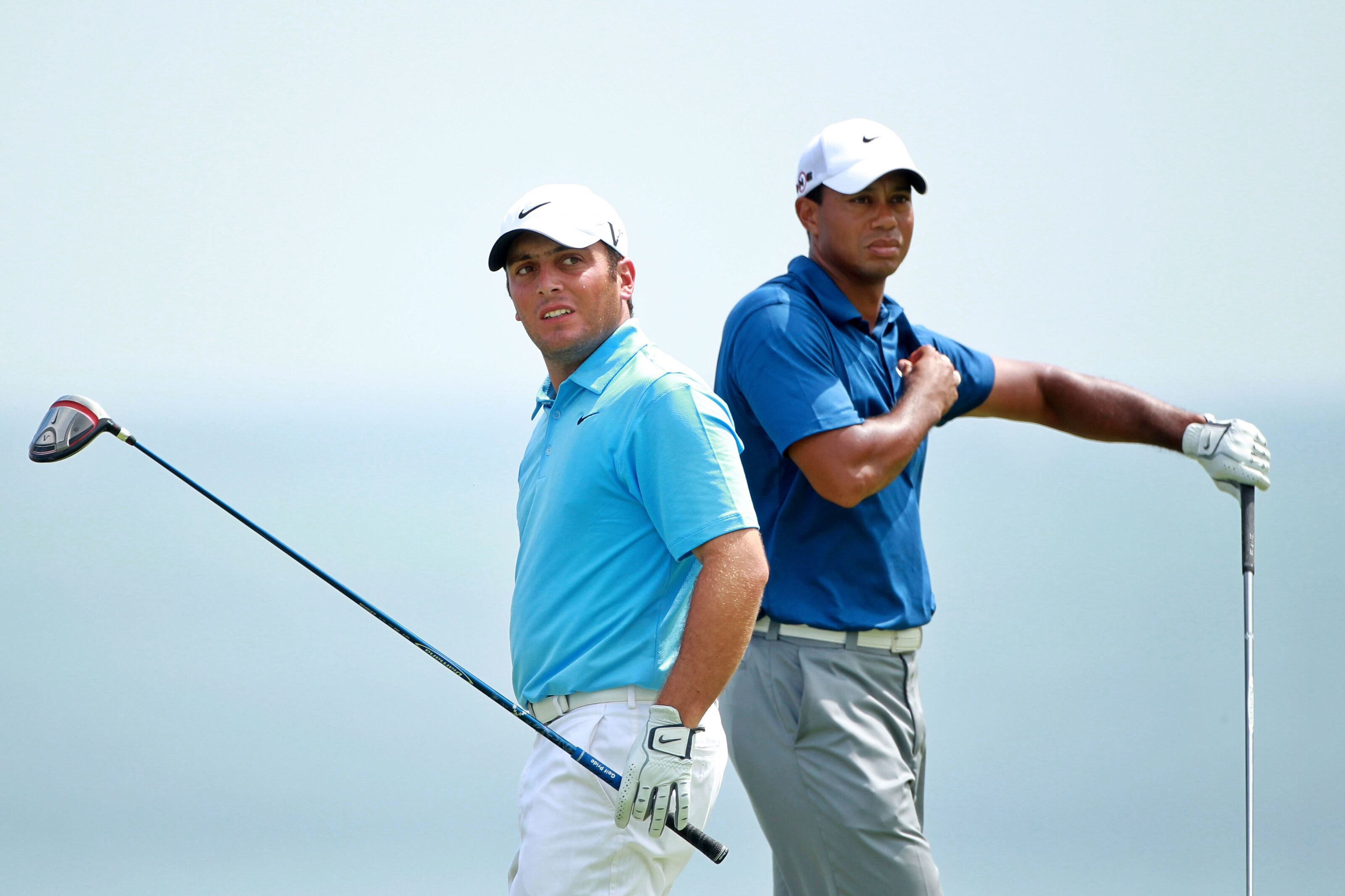 KOHLER, WI - AUGUST 14: (L-R) Francesco Molinari of Italy and Tiger Woods look on from the tee on the fifth hole during the third round of the 92nd PGA Championship on the Straits Course at Whistling Straits on August 14, 2010 in Kohler, Wisconsin. (Photo by Andrew Redington/Getty Images)