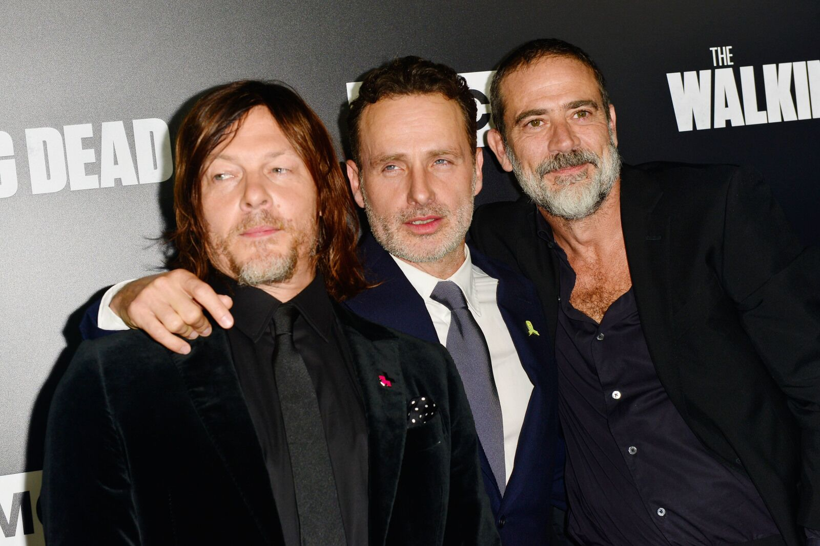 LOS ANGELES, CA - SEPTEMBER 27: (L-R) Norman Reedus, Andrew Lincoln and Jeffrey Dean Morgan arrive at the Premiere Of AMC's 'The Walking Dead' Season 9 at the DGA Theater on September 27, 2018 in Los Angeles, California. (Photo by Jerod Harris/Getty Images)