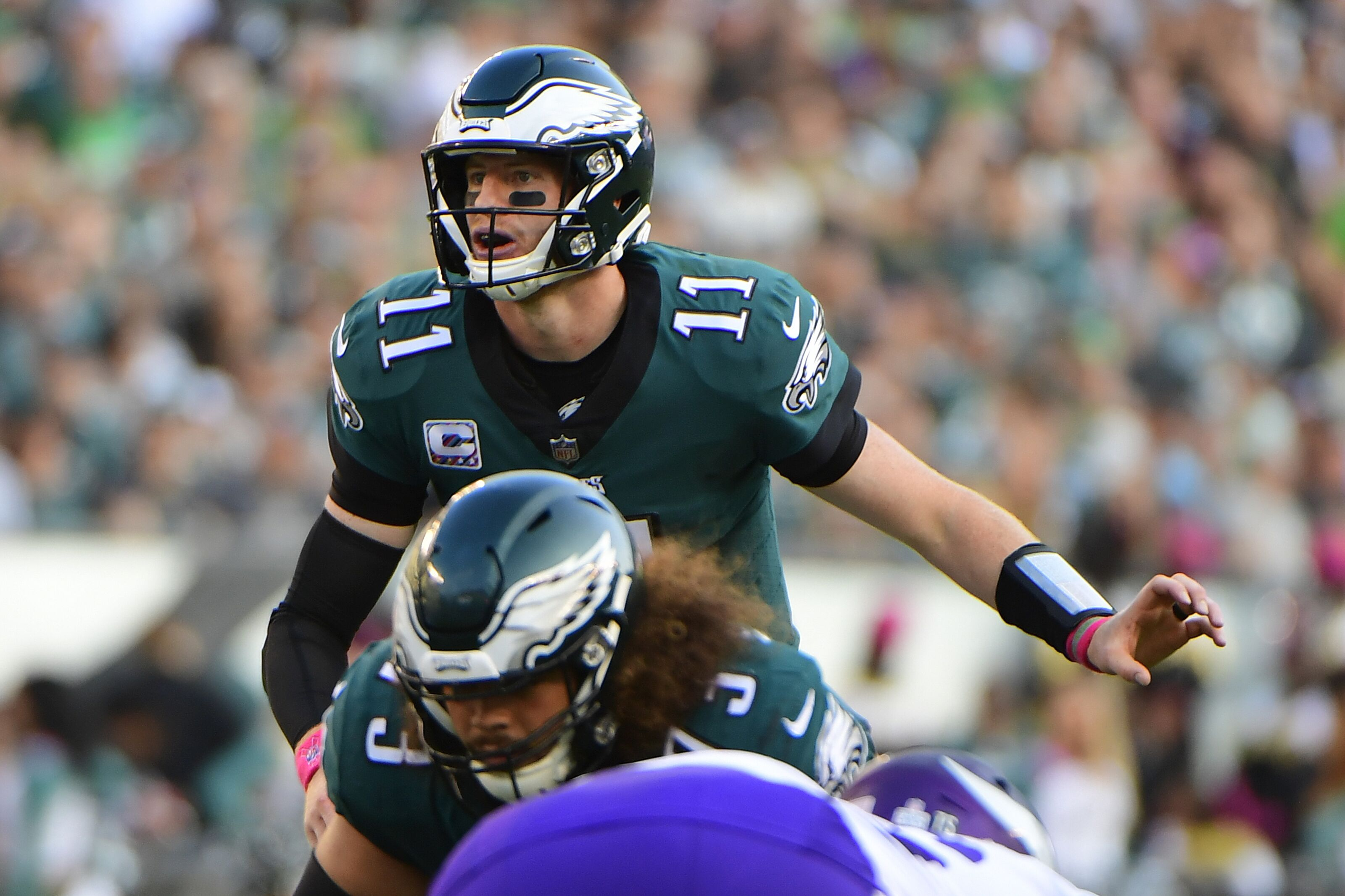 PHILADELPHIA, PA - OCTOBER 07: Carson Wentz #11 of the Philadelphia Eagles calls a play against the Minnesota Vikings during the second quarter at Lincoln Financial Field on October 7, 2018 in Philadelphia, Pennsylvania. The Vikings won 23-21. (Photo by Corey Perrine/Getty Images)