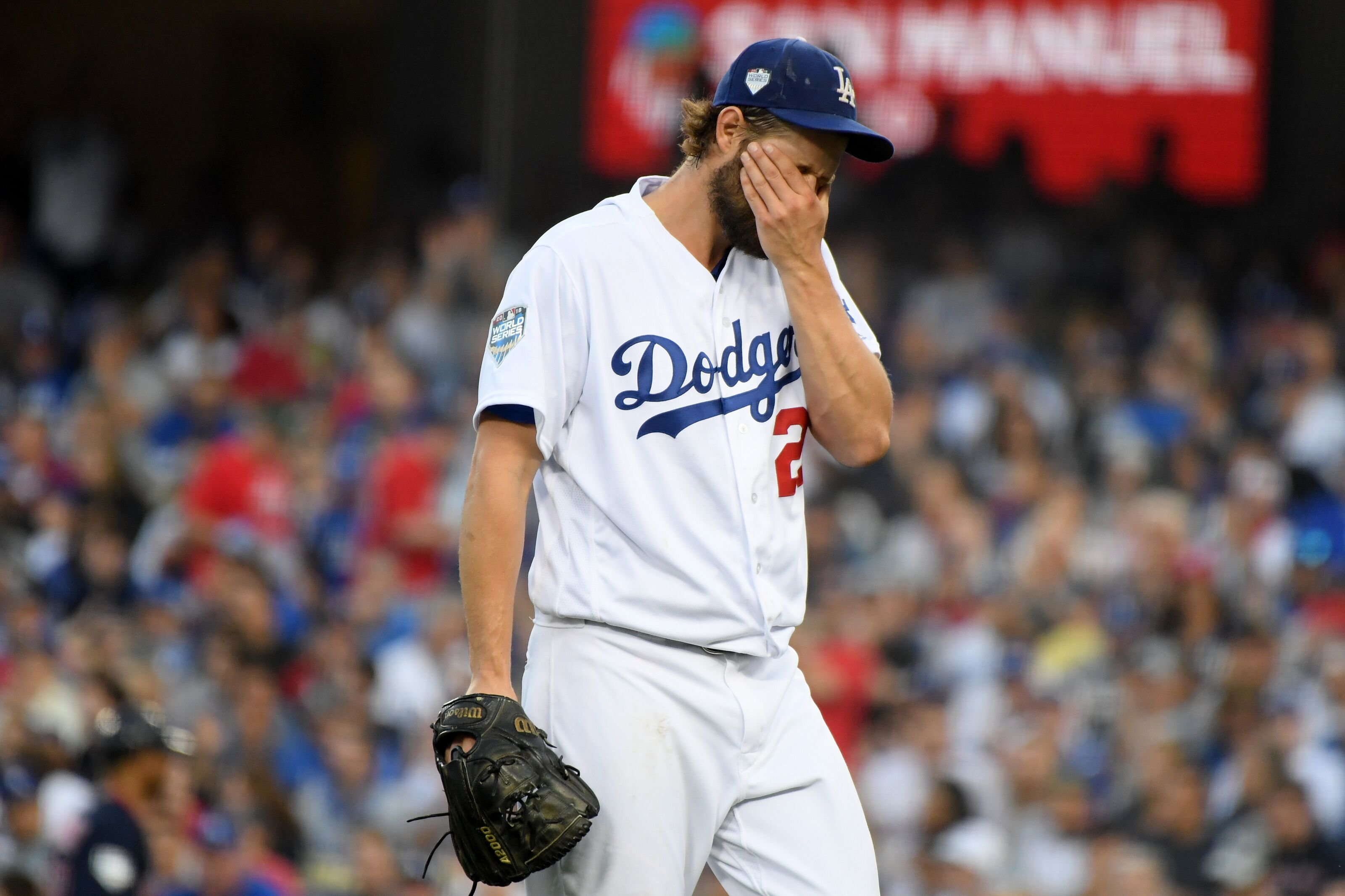 LOS ANGELES, CA - OCTOBER 28: Clayton Kershaw #22 of the Los Angeles Dodgers reacts during the first inning against the Boston Red Sox in Game Five of the 2018 World Series at Dodger Stadium on October 28, 2018 in Los Angeles, California. (Photo by Harry How/Getty Images)