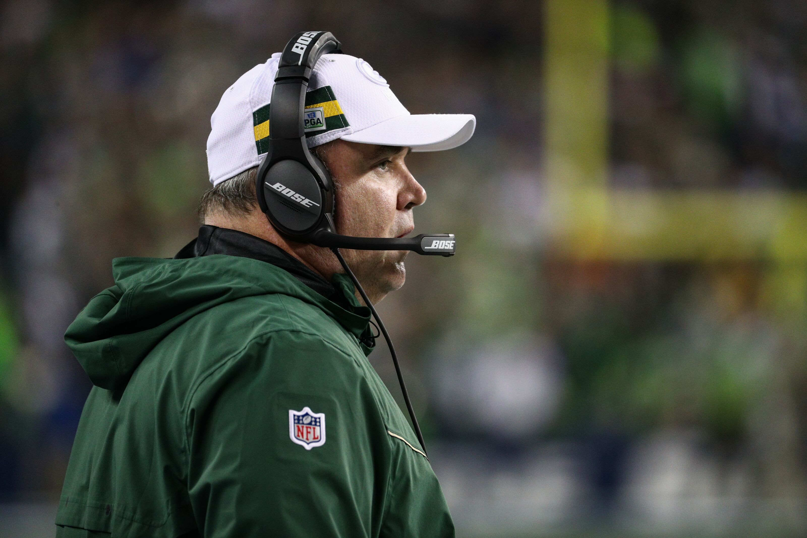 SEATTLE, WA - NOVEMBER 15: Head coach Mike McCarthy of the Green Bay Packers watches the action in the first quarter against the Seattle Seahawks at CenturyLink Field on November 15, 2018 in Seattle, Washington. (Photo by Abbie Parr/Getty Images)