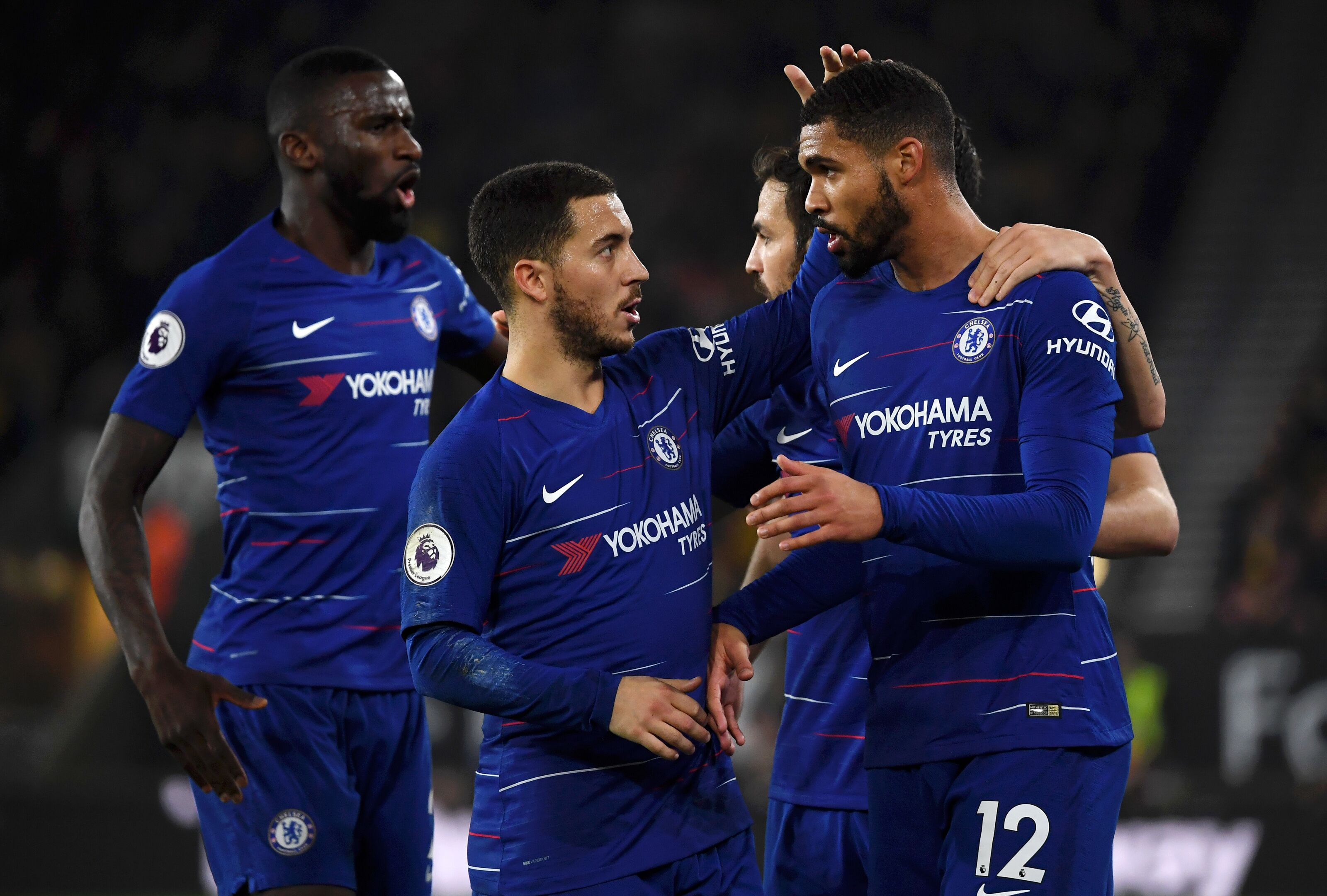 WOLVERHAMPTON, ENGLAND - DECEMBER 05: Ruben Loftus-Cheek of Chelsea celebrates with teammate Eden Hazard after scoring his team's first goal during the Premier League match between Wolverhampton Wanderers and Chelsea FC at Molineux on December 4, 2018 in Wolverhampton, United Kingdom. (Photo by Chelsea Football Club/Chelsea FC via Getty Images)