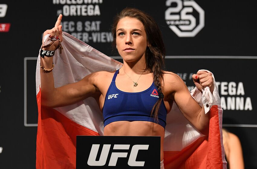 TORONTO, CANADA - DECEMBER 07: Joanna Jedrzejczyk of Poland poses on the scale during the UFC 231 weigh-in at Scotiabank Arena on December 7, 2018 in Toronto, Canada. (Photo by Josh Hedges/Zuffa LLC/Zuffa LLC via Getty Images)
